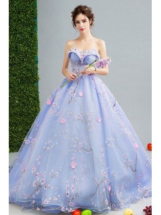 Dreamy Floral Light Blue Ball Gown Formal Dress For 2019 Prom
