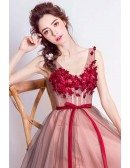 Blackish Red Backless Floral Prom Dress Long With Sweetheart Neck