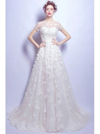 Elegant Flower Lace Bridal Dress With Cap Sleeves In Wholesale Price