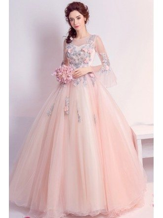 Floral Pink Ballroom Quinceanera Prom Dresses With Flare Sleeves