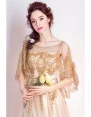 Sparkly Gold Long Pageant Formal Dress Sequined With Cape Sleeves