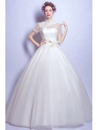Retro High Neck Floral Beading Bridal Gowns With Short Sleeves