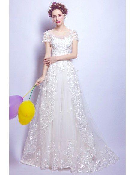 Gorgeous White Sleeve Lace Wedding Dress With Big Bow Back