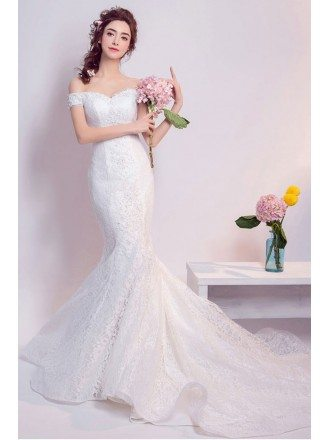 Inexpensive Elegant Off Shoulder Mermaid Lace Wedding Dress With Train