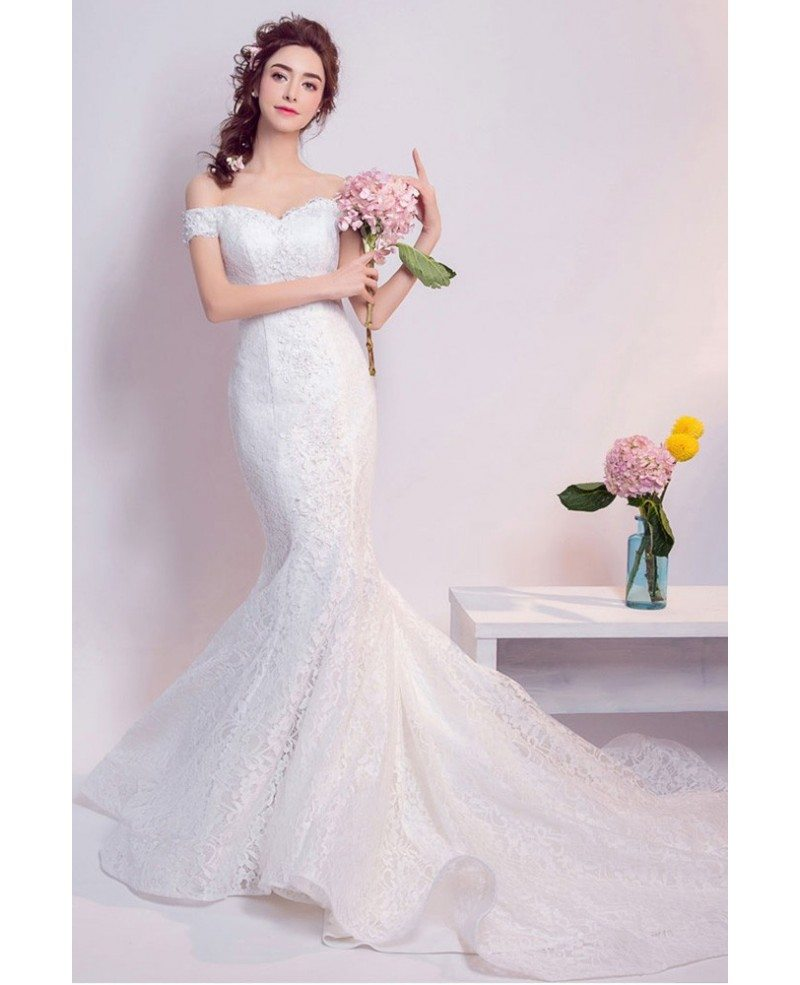 Inexpensive Elegant Off Shoulder Mermaid Lace Wedding Dress With Train Wholesale T69496 Gemgrace Com