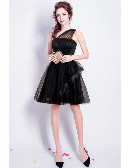 One Shoulder Black Short Tulle Prom Dress With Sequin Bodice