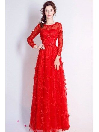 Special Lace Red Floral Formal Dress With Sleeves