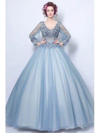 Affordable Ball Gown Blue Applique Prom Dress With V-neck Long Sleeves