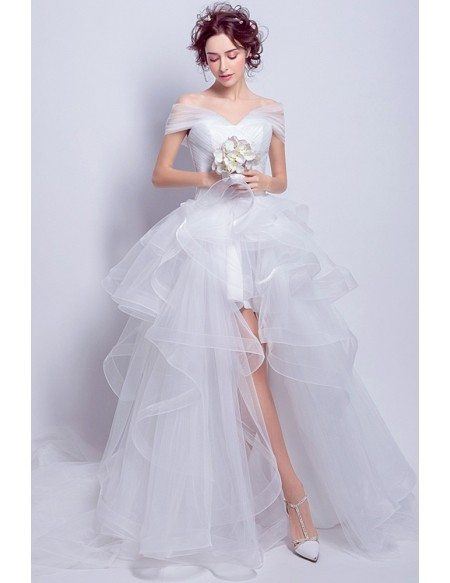 Simple Tulle High Low Wedding Dress With Off Shoulder Straps