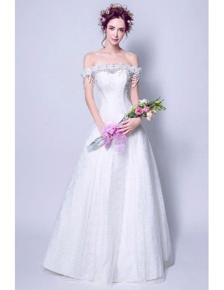 Informal Long White Lace Wedding Dress With Off Shoulder Beading Straps