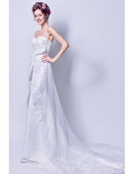 Strapless Long White Bow Bridal Dress With Lace Beading Train