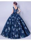 Unique Navy Blue V Neck Pageant Dress With Floral Print Ballroom Gown