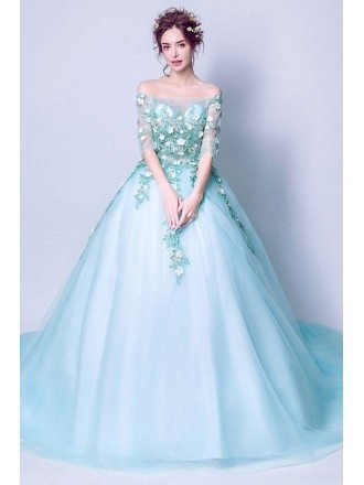 Applique Aqua Blue Formal Prom Dress Ballroom With Off Shoulder Sleeves