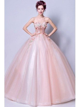Strapless Pearl Pink Ballroom Floral Pageant Dress For Prom Girls