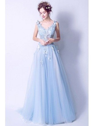 Elegant Light Blue V Neck Prom Dress Long With Butterfly Lace Beading