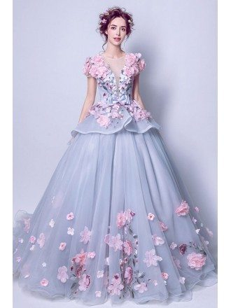 Unique Grey With Pink Floral Pageant Dress For Quinceanera