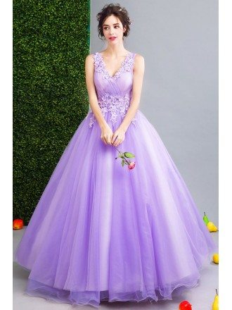 Classy Lavender Ball Gown Formal Prom Dress With Lace Beading V-neck