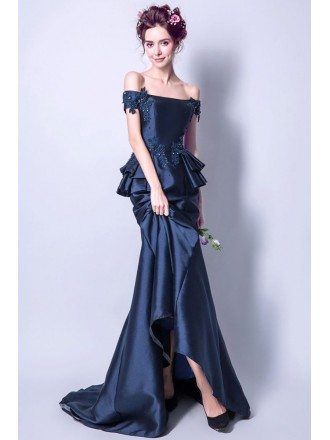 Vintage Navy Blue Mermaid Formal Dress With Off The Shoulder Straps