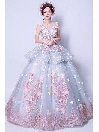 Fairy Grey With Pink Flower Quinceanera Prom Dress Ball Gown