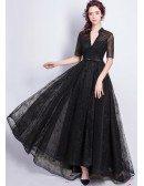 Vintage Black Lace Sleeved Formal Dress Long With Beading V Neck
