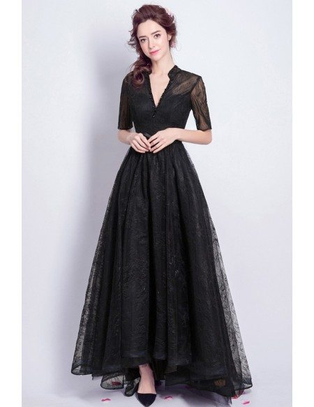 Vintage Black Lace Sleeved Formal Dress Long
