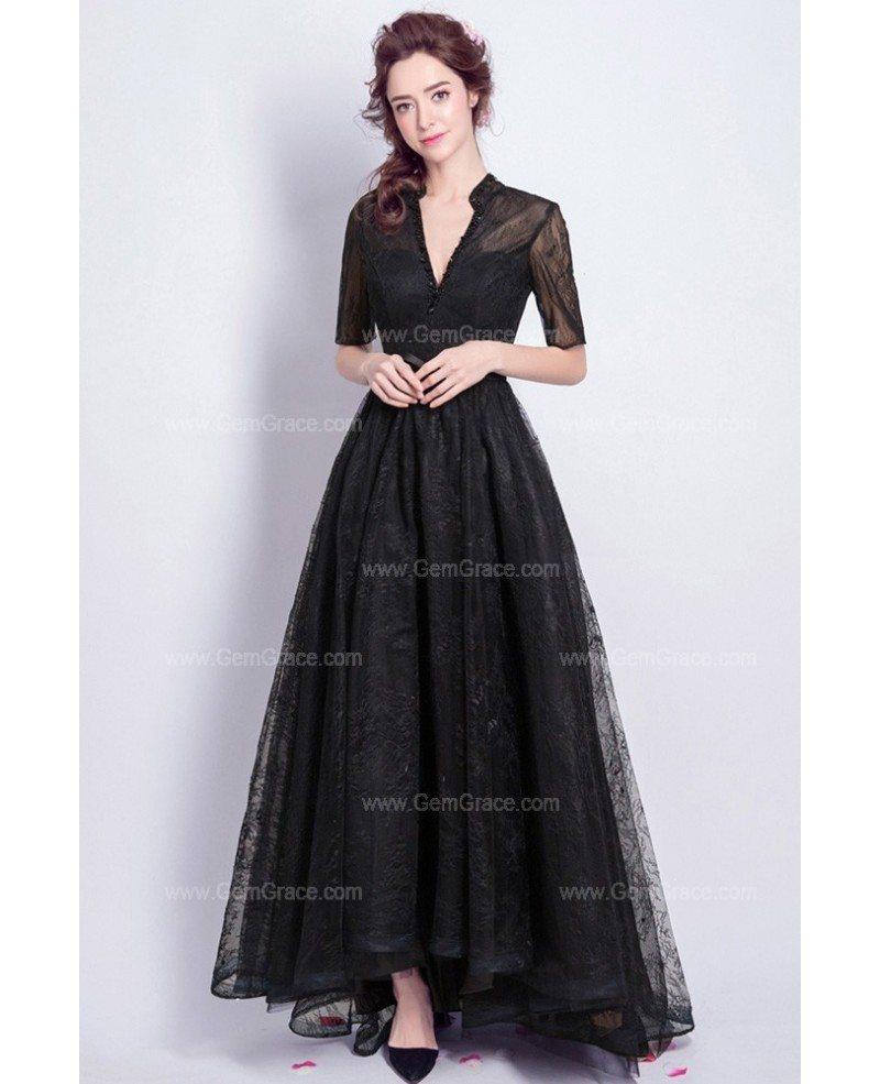 Vintage Black Lace Sleeved Formal Dress