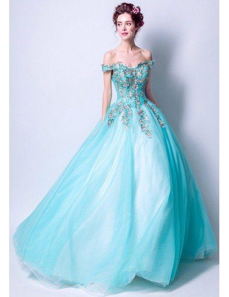 Ballroom Aqua Blue Formal Prom Dress With Unique Colorful Lace
