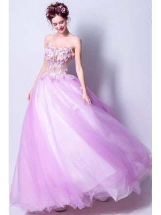 Lilac Ball Gown Quinceanera Prom Dress With Colored Flowers