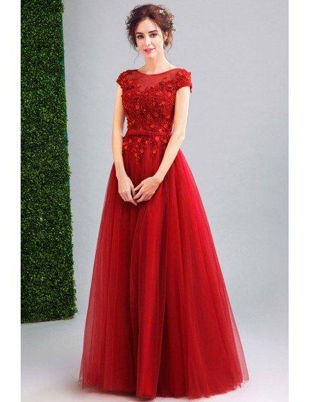 Red Cap Sleeve Prom Dresses
