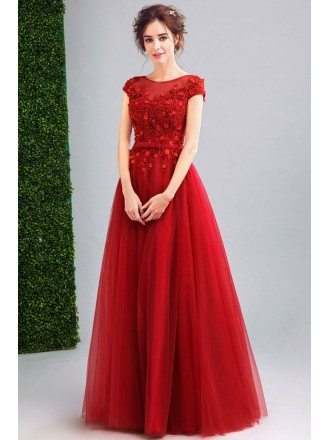 Modest Cap Sleeve Red Tulle Prom Dress Long With Lace Beading Top