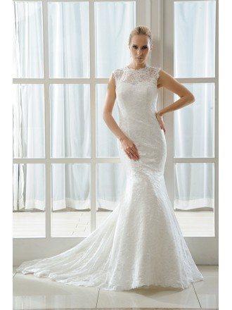 Mermaid Scoop Neck Sweep Train Lace Wedding Dress