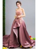Marvelous Rosy Pink Hi-lo Flower Formal Prom Dress With Long Train