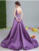 Backless Purple Satin Sweetheart Formal Dress With Beaded Floral Top