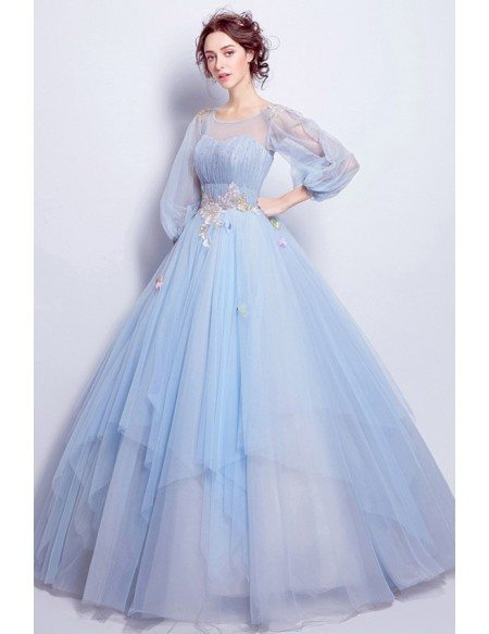 Cinderella Blue Ball Gown Prom Dress With Puff Sleeves For Quinceanera