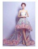 Romantic Flower High Low Prom Dress Strapless With Petal Hem