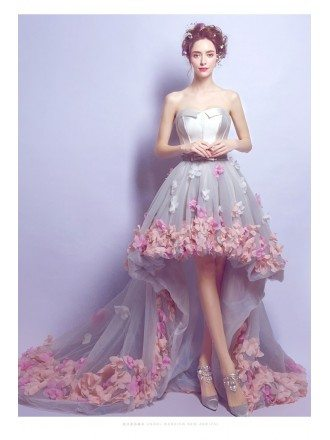 Romantic Flower High Low Prom Dress Strapless With Petal Hem
