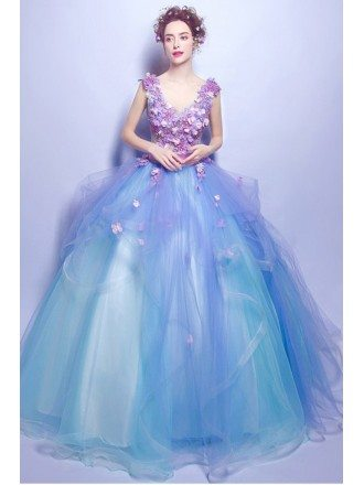 Gorgeous Blue Ball Gown Pageant Prom Dress With Lilac Floral Beading