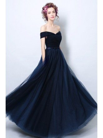 Simple Tulle Pleated Navy Blue Formal Dress With Off Shoulder Straps