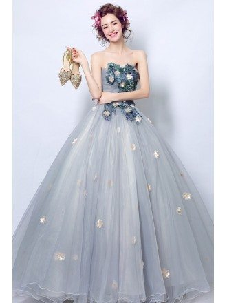 Strapless Grey Applique Ball Gown Formal Party Dress For Quinceanera