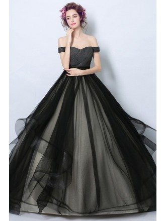 Simple Black Corset Tulle Formal Dress Ball Gown With Off Shoulder Straps