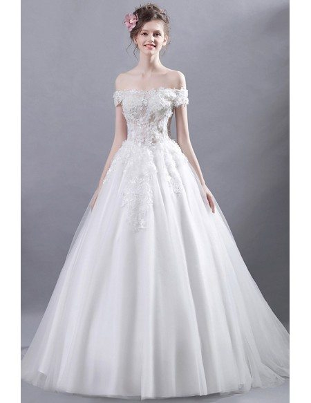 Goddess Off Shoulder Ballroom Bridal Dress With Romantic Floral Bodice