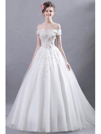 Goddess Off Shoulder Ballroom Bridal Dress With Romantic Floral Bodice