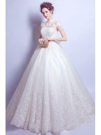 Vintage High Neck Lace Wedding Gowns With Beading Cap Sleeves