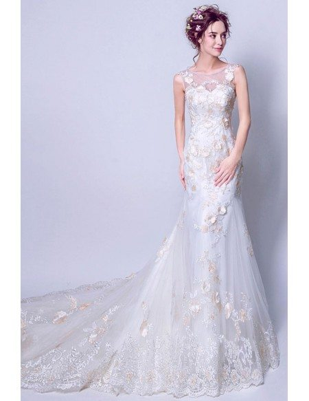 Inexpensive 2019 Graceful All Lace Wedding Dress Sleevless With Train
