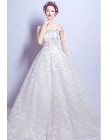 Romantic Lace Ball Gown Wedding Dress With Off Shoulder Strap