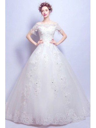 Beading Tassel Sleeve Lace Wedding Dress Ball Gown With Bow Back