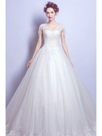 Inexpensive Gorgeous Lace Ballroom Wedding Gown With Beading Tassel Sleeve