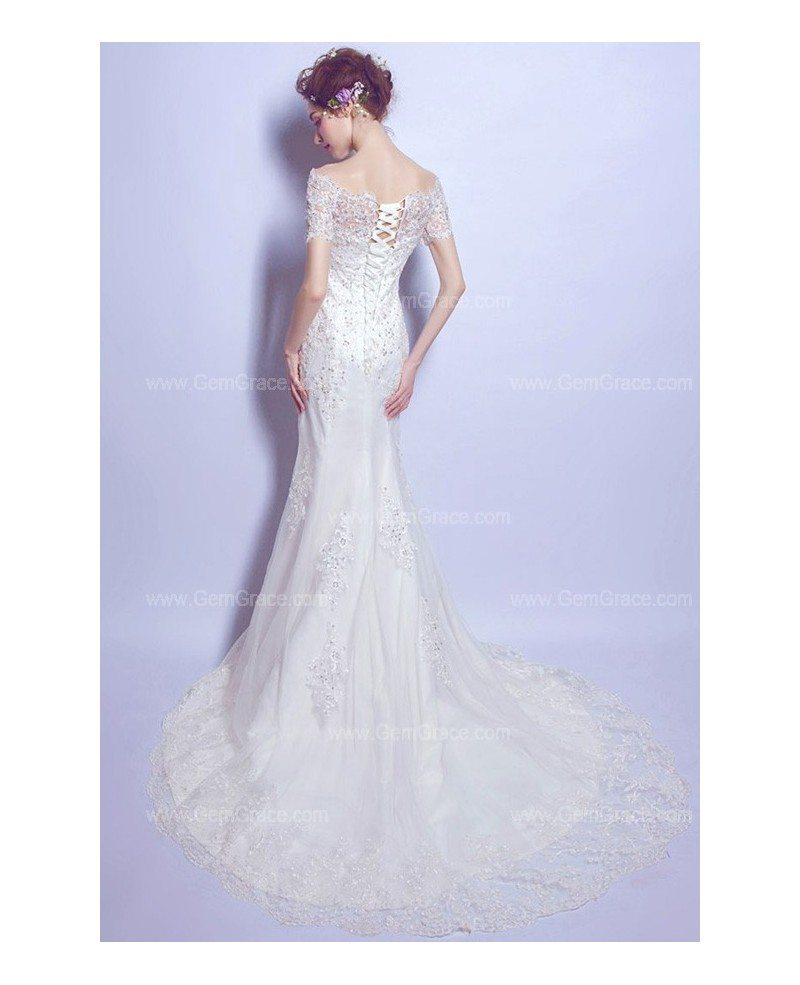 All Lace Wedding Dress: Graceful All Lace Mermaid Wedding Dress With Train Sleeves
