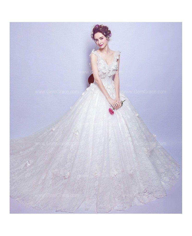 Goddess Wedding Gown: Goddess Floral V Neck Wedding Dress With Big Ball Gown
