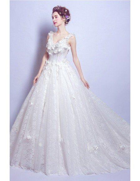 Goddess Floral V Neck Wedding Dress With Big Ball Gown